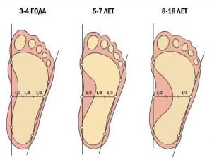 Вид здоровой стопы у ребенка в разном возрасте